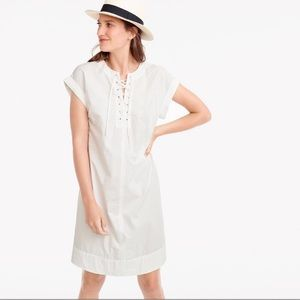 J.Crew Tall Lace Up Shirtdress in White